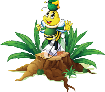 Illustration of a tree with a bee on a white background