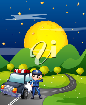 Illustration of a policeman with a police car at the road