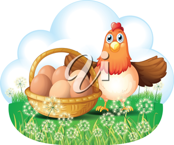 Illustration of a hen with eggs in a basket on a white background
