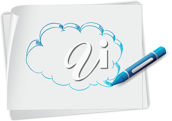 Illustration of a paper with an image of an empty callout and a crayon on a white background