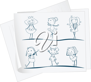 Illustration of a paper with an image of six girls in different positions on a white background