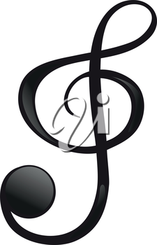 Illustration of a G-clef on a white background