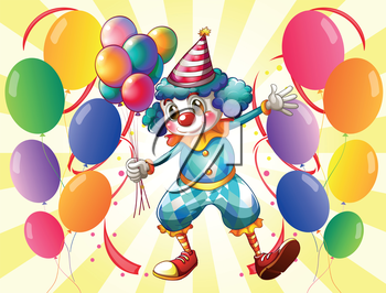 Illustration of a clown holding balloons