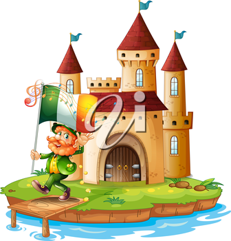 Illustration of a castle with a man holding the flag of Ireland on a white background