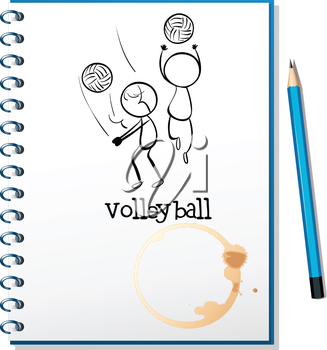 Illustration of a notebook with a sketch of the volleyball players on a white background