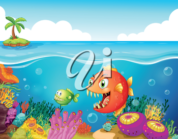Illustration of a sea with colorful coral reefs and fishes