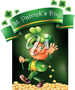 Illustration of a card template for St. Patrick's Day on a white background