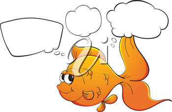 Illustration of a gold fish with empty callouts on a white background