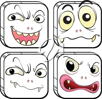 Illustration of the four scary monsters on a white background