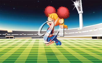 Illustration of a soccer field with an energetic cheerdancer
