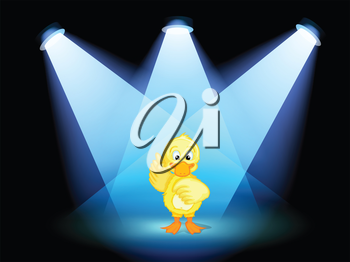 Illustration of a duck with spotlights