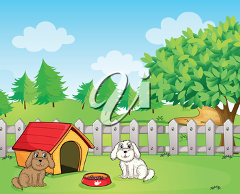Illustration of a doghouse inside the wooden fence near the hill
