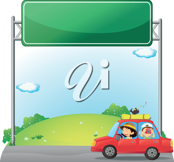 Illustration of a car driven by a woman near an empty signage