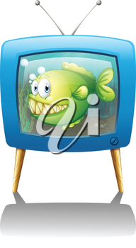 Illustration of a blue television with a fish on a white background