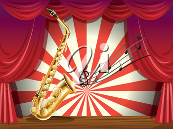 Illustration of a saxophone and the musical notes at the stage