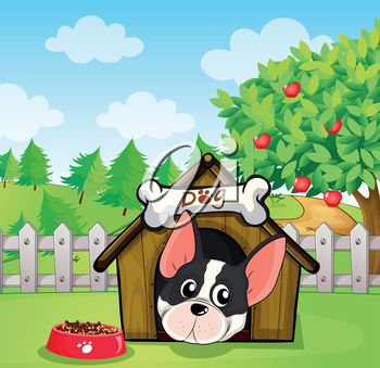 Illustration of a dog inside a dog house at a backyard with an apple tree