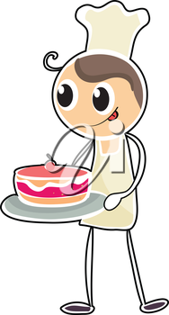 Illustration of a baker holding a tray of cake on a white background