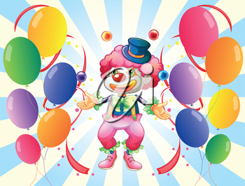 Illustration of a clown with a colorful costume surrounded by balloons