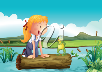 Illustration of a girl with a frog in the river