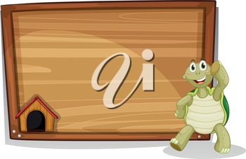 Illustration of a turtle beside a wooden empty board on a white background
