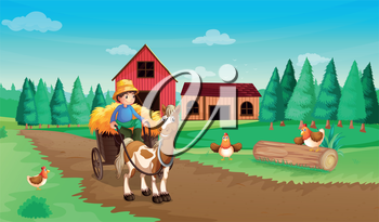 Illustration of a farm with a farmer and his pets