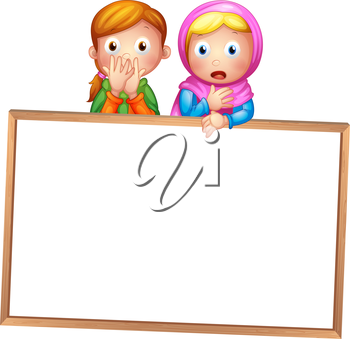 Illustration of an empty framed white board with two girls on a white background