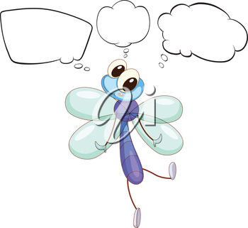 Illustration of a thinking insect on a white background