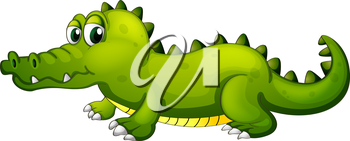 Illustration of a giant green crocodile on a white background