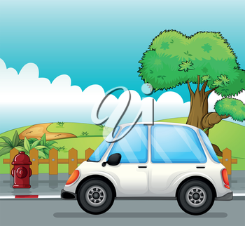 Illustration of a white car along the street