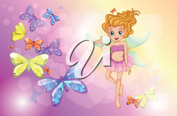 Illustration of a fairy with the colorful butterflies