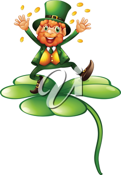 Illustration of a man with coins above the clover plant on a white background
