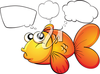 Illustration of a gold fish and the empty callouts on a white background