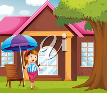 Illustration of a fat girl holding a glass of juice under the umbrella