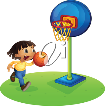 Illustration of a small boy playing basketball on a white background