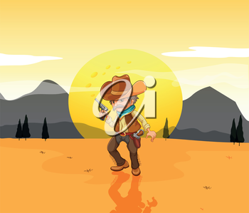 Illustration of a desert with an armed cowboy