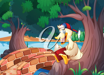 Illustration of a duck reading near the bridge