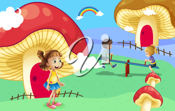 Illustration of the kids playing near the giant mushroom houses