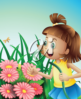 Illustration of a girl with a hose at the garden