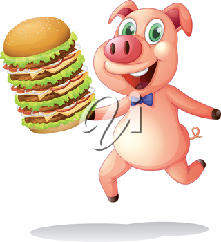 Illustration of a pig holding a big pile of hamburgers on a white background