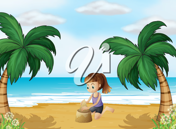 Illustration of a young girl forming a sand castle at the beach