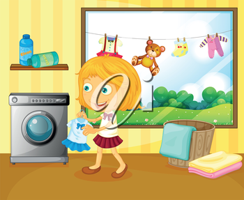 Illustration of a girl washing her clothes