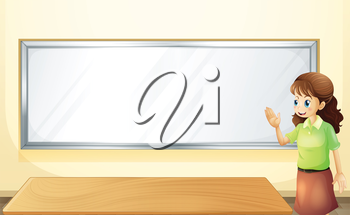 Illustration of a teacher inside the room with an empty bulletin board