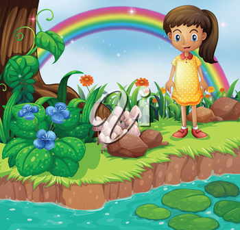 Illustration of a small girl at the riverbank with mushrooms