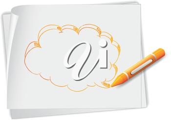 Illustration of a piece of paper with a drawing of a callout and a crayon on a white background
