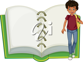 Illustration of a boy and an empty notebook on a white background