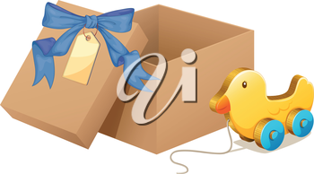 Illustration of a wooden duck beside a brown box on a white background