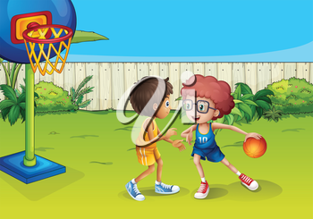 Illustration of the two boys playing basketball inside the fence