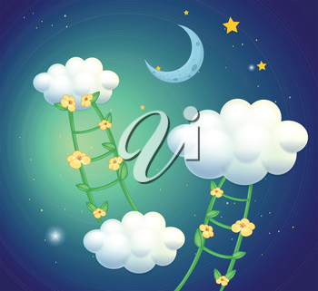 Illustration of the green ladders with flowers going to the clouds