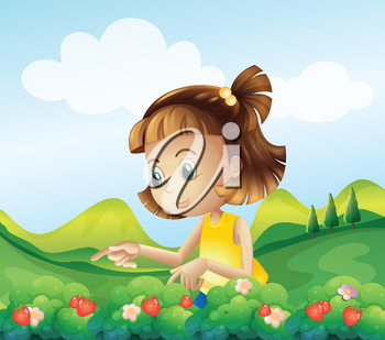 Illustration of a little girl at the strawberry farm