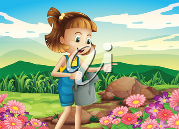 Illustration of a little woman watering the plants
